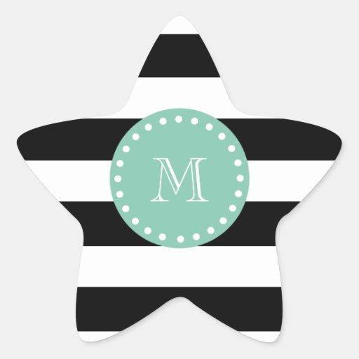 Black Stripes Pattern, Mint Green Monogram Star Stickers
