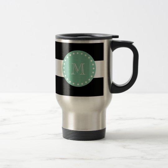 Black Stripes Pattern, Mint Green Monogram Travel Mug