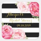 Black Stripes Pink Floral Bridal Shower Favour Tag