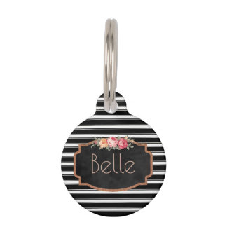 Black Stripes Pink Roses Personalized Pet ID Phone Pet Nametag