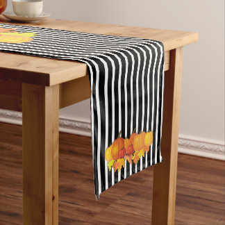 Black Stripes & Pumpkins Halloween -Thanksgiving Short Table Runner