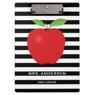 Black Stripes, Red Apple Personalized Teacher Clipboard