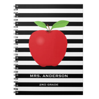 Black Stripes, Red Apple Personalized Teacher Note Book