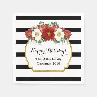 Black Stripes Red Flowers Custom Christmas Napkin Paper Serviettes