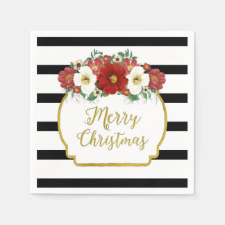 Black Stripes Red Flowers Merry Christmas Napkin Disposable Napkins