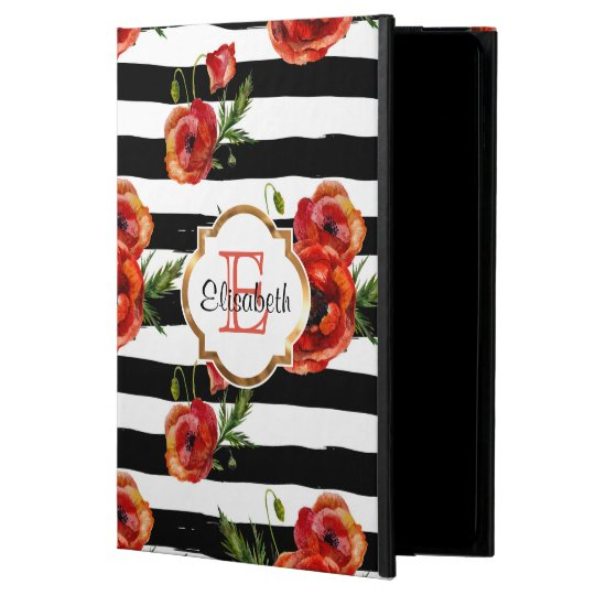 Black Stripes, Red Poppy, Faux Gold, Personalised Powis