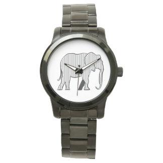 Black Stripes White Elephant Stylish Simple Chic Watch