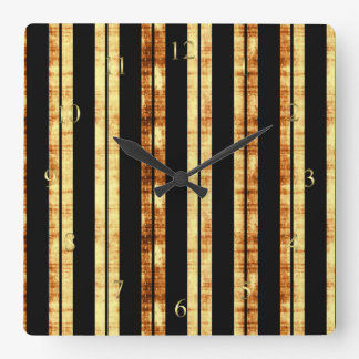 Black Stripes With Grungy Brown Background Square Wallclock