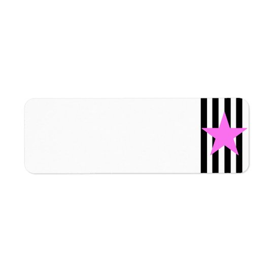 Black Strips Pink Star- Customisable Background Return Address Label