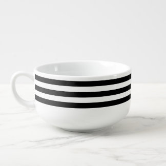 black stripy soup mug