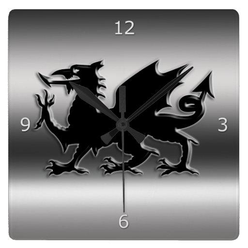 'Black Stylised Welsh Dragon On Metallic-look Square Wall Clock
