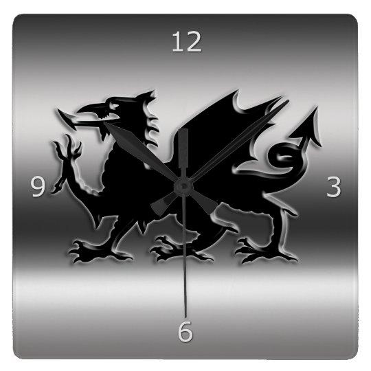 Black stylised Welsh Dragon on metallic-look Wall Clocks