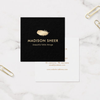 Black Stylish Gold Feather Square Business Card