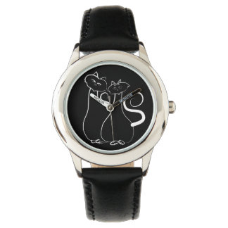 Black Stylish Love Sketch Cats Simple Cool Watch