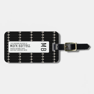 black, stylish & monogrammed (name & initials) luggage tag