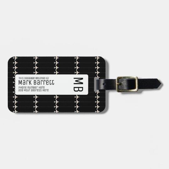 black, stylish & monogrammed (name & initials) luggage
