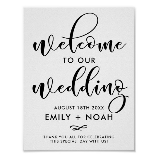 Black Stylish Script Welcome Wedding Sign Poster