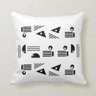 Black Stylish Symbols on White Cushion