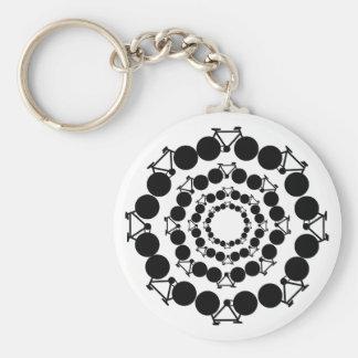 black stylized bikes in circles basic round button key ring
