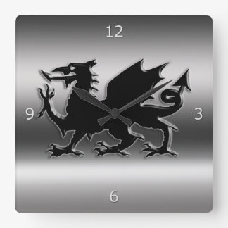 Black stylized Welsh Dragon on metallic-look Square Wall Clock