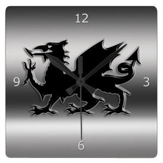 Black stylized Welsh Dragon on metallic-look Wall Clocks