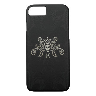 Black & Subtle Gold Monogrammed Skull Design iPhone 8/7 Case