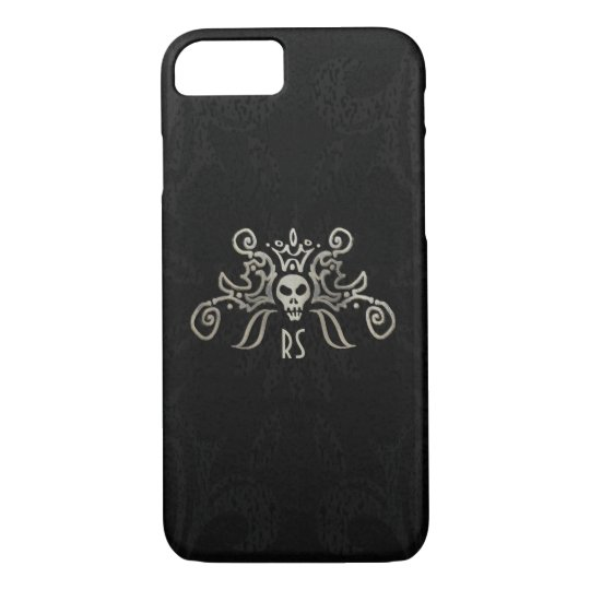 Black & Subtle Gold Monogrammed Skull Design iPhone