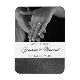 "Black Suede & White Save the Date Magnet 3"" x 4"""