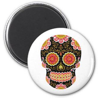 Black Sugar Skull Round Magnet