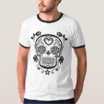 Black Sugar Skull with Roses T-shirt