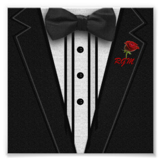 Black Suit Bow Tie and Rose Photograph