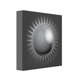 black-sun-vector BLACK GREY GRAY DARK METAL METALL Stretched Canvas Print