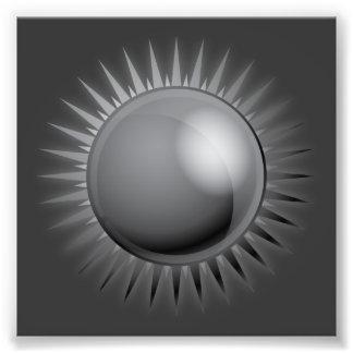 black-sun-vector BLACK GREY GRAY DARK METAL METALL Photo Print