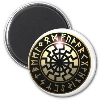 Black Sun wheel 6 Cm Round Magnet
