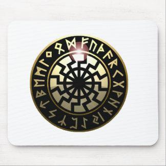 Black Sun wheel Mouse Mat