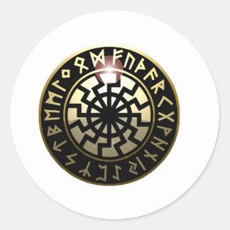 Black Sun wheel Round Sticker