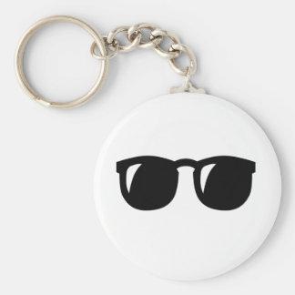 Black Sunglasses Basic Round Button Key Ring