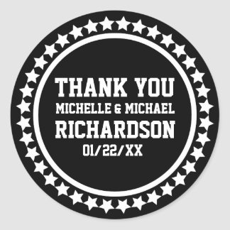 Black Superstar Wedding Favor Round Sticker