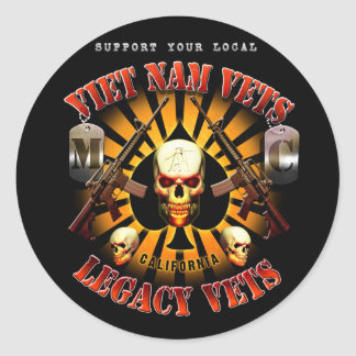Black Support Viet Nam/Legacy Vets MC Skull Design Round Sticker