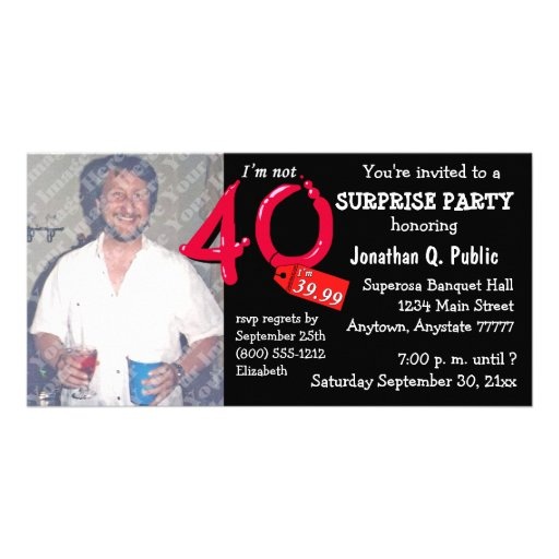 black surprise 40th birthday party photo invite photo card template zazzle. Black Bedroom Furniture Sets. Home Design Ideas