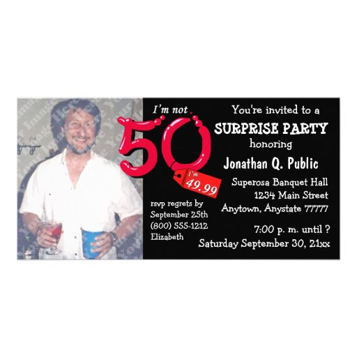 Black Surprise 50th Birthday Party Photo Invite Photo Greeting Card