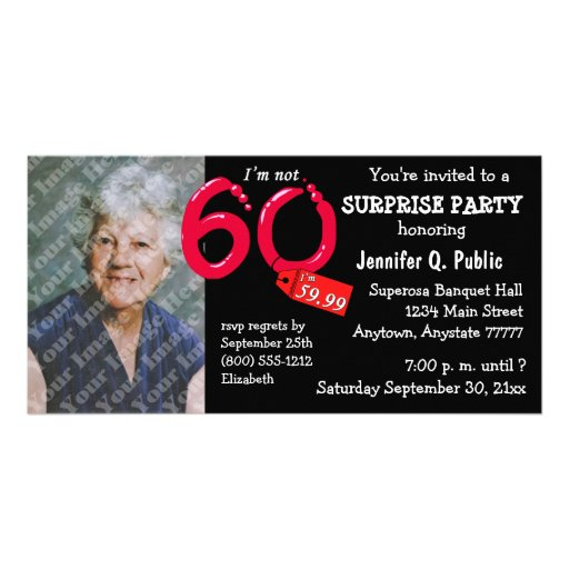 Black Surprise 60th Birthday Party Photo Invite Personalized Photo Card