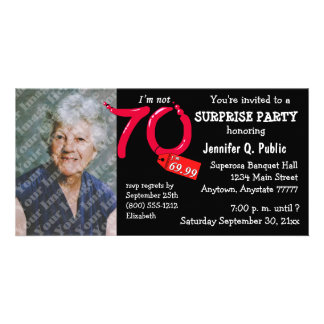 Black Surprise 70th Birthday Party Photo Invite Picture Card