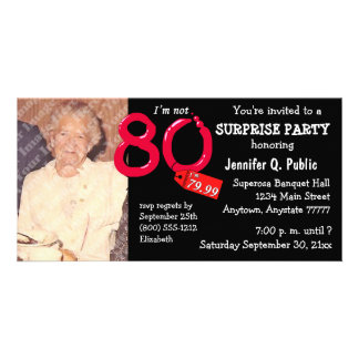 Black Surprise 80th Birthday Party Photo Invite Customized Photo Card