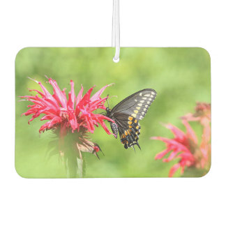 Black swallowtail butterfly and red bee balm car air freshener