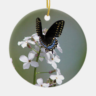 Black swallowtail butterfly christmas ornament
