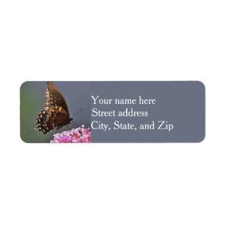 Black swallowtail butterfly profile return address label
