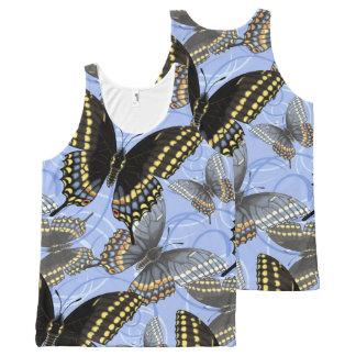 Black Swallowtail Butterfly Swirls All-Over Print Tank Top