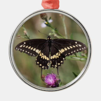 Black Swallowtail Silver-Colored Round Decoration
