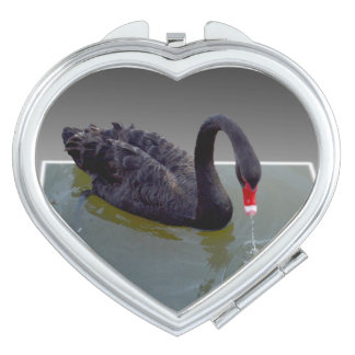 Black Swan In Pond, Heart Compact Mirror